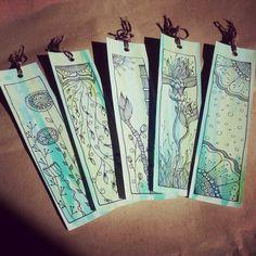 Diy bookmark. Zentangle and doodle design. Watercolor & ink pen.