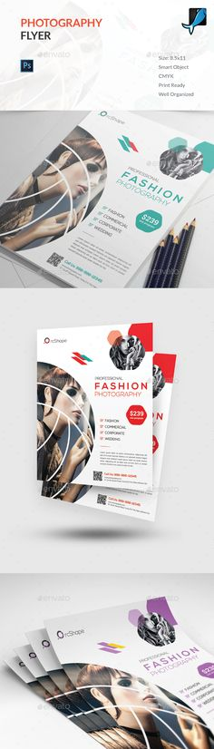 Buy Photography Flyer by OrcShape on GraphicRiver. This Flyer template can be used for any business purpose or others projects. All text, colors, images, fonts are user. Photography Flyer, Fashion Photography, Wedding Photography, Flyer Printing, Business Flyer Templates, Corporate Flyer, Print Templates, Beauty Camera, Graphic Design Inspiration