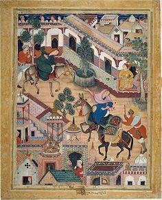 """""""The Spy Zambur Brings Mahiya to the City of Tawariq"""", Folio from a Hamzanama (Book of Hamza) Attributed to Kesav Das (active ca. 1570–1604)"""