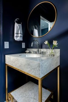 Navy walls make this powder room shine. Gold and marble vanity. G… Navy walls make this powder room shine. Gold and marble vanity. Gold mirror and chrome faucets for a mixed metal look White Interior Design, Home Interior, Bathroom Interior, Bathroom Modern, Bathroom Vintage, Blue Powder Rooms, Modern Powder Rooms, Gold Powder, Chrome Powder