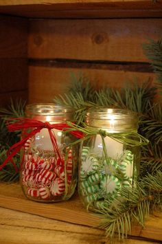 Candy filled jar Candles for your Winter and Christmas Decor. $16.00, via Etsy. (Love the idea, can do for about $5 total for both jars. Thanks, the dollar #holiday event| http://holiday.lemoncoin.org