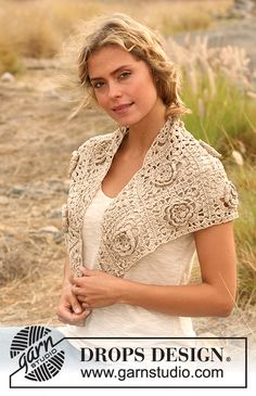 """Countryside Stroll - Crochet DROPS shawl in """"Cotton Viscose"""". - Free pattern by DROPS Design"""