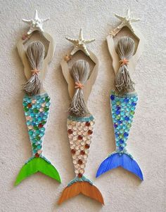 Mermaid Carved from Reclaimed Wood Hand Decorated and Painted / Rose Art Works via easy--inspiration -- ideaMermaid Carved from Reclaimed Wood- add real starfish and sea glass found at the beach to remember a vacationBright and Lovely Mermaid wall ha Mermaid Crafts, Seashell Crafts, Beach Crafts, Mermaid Art, Summer Crafts, Wood Crafts, Diy And Crafts, Crafts For Kids, Arts And Crafts