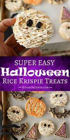 These cute little Halloween Rice Krispie Treats will put a smile on everyone's face this Halloween. They are so easy to make with just 4 ingredients and taste great! Classic rice krispie treats with a fun, spooky Halloween twist. Halloween Desserts, Halloween Rice Crispy Treats, Halloween Rice Krispies, Pumpkin Rice Krispie Treats, Halloween Food For Party, Desserts To Make, Halloween Treats, Rice Krispie Pumpkins, Halloween Kitchen