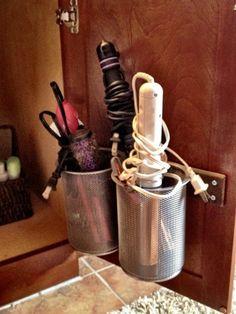 47 Super Ideas Bathroom Organization Ideas Under Sink Hair Tools Hair Appliance Storage, Hair Tool Storage, Hair Tool Organizer, Storage Hacks, Diy Storage, Storage Ideas, Storage Organizers, Hair Dryer Storage, Storage Solutions
