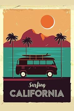 International Shopping: Shop Sports and Outdoor products that ship Internationally Surf California Coastline Vintage Van Palm Trees Cool Wall Decor Art Print Poster 24 x 36 Surf Vintage, Surf Retro, Vintage Surfing, Vintage Hawaiian, French Vintage, Vintage Advertising Posters, Vintage Travel Posters, Vintage Advertisements, Retro Kunst
