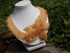 FREE SHIPPING Golden Necklace multistrand necklace collar necklace gold necklace romantic necklace beadwork gift ideas flower seed beads - pinned by pin4etsy.com