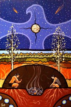 Teachings of the Sweat Lodge by Métis (First Nations) artist Aaron Paquette… Native American Wisdom, Native American Artists, Native American Indians, The Lost Room, Sweat Lodge, Medicine Wheel, Indigenous Art, Aboriginal Art, Aboriginal People