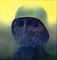 Visions of Hell by Murdered Polish Painter - Imgur // This is art by Zdzisław Beksiński (see also a site with images of his work (http://art.vniz.net/en/beksinski/)