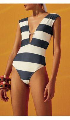 ec12bc9bd7 Salinas Striped One Piece, One Piece Swimsuit, Prada, Nautical, Character  Design,