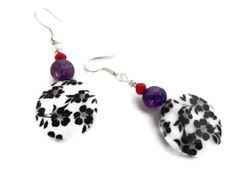 Flower Lentil Earrings, Red and Purple Earrings, Handmade Jewelry, Gift for Her