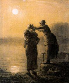 Jean Francois Millet, F, 1814-1875, Wäschetrocknen im Mondschein
