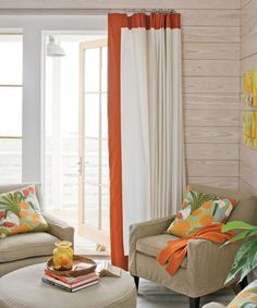 orange banded curtains!