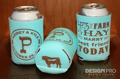 Left the Farm & Hay Country Wedding Koozie by designpro1 on Etsy