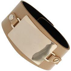 Beige Leather Plate Bracelet ($15) ❤ liked on Polyvore