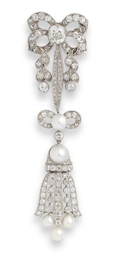 A pearl and diamond brooch, first half of the 20th century. The brooch designed as an articulated series of ribbon bow and foliate motifs, terminating in a stylised bell-shaped pendant, millegrain-set throughout with cushion-shaped, old brilliant and rose-cut diamonds and bouton and drop-shaped pearls. Set in platinum.