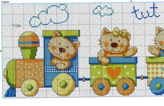 Kitty train 1/3.......Solo Patrones Punto Cruz (pág. 425) | Aprender manualidades es facilisimo.com