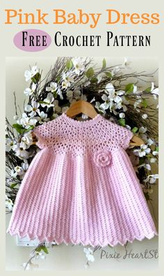 Crochet For Babies Pretty Pink Baby Dress Free Crochet Pattern Crochet Baby Dress Free Pattern, Baby Dress Patterns, Crochet Baby Clothes, Baby Blanket Crochet, Free Crochet, Crochet Patterns, Crochet Baby Dresses, Tunisian Crochet, Simple Crochet