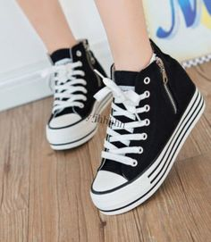 Lace Up Womens Zipper Sneakers Canvas High Top Platform  Fashion Casual Shoes