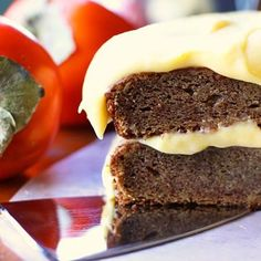 Persimmon Cake Cake Ingredients: 2 cups sugar ¾ cup butter, softened 3 large eggs 3 cups flour 1 tsp baking soda ½ tsp salt 1 tsp vanilla 1 1/2 cups fully-ripe persimmon puree, divided. Cream Cheese...
