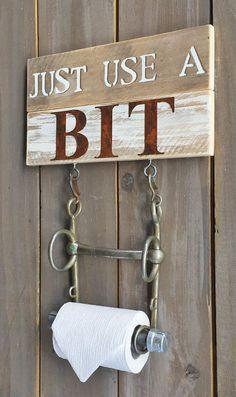 Horse Bit Tp Holder Sign Just Use A Rustic Bathroom Equestrian Decor Barn Farmhouse