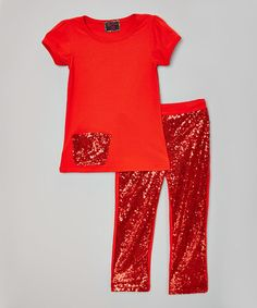 Another great find on #zulily! Red Sequin Pocket Tee & Pants - Infant, Toddler & Girls #zulilyfinds