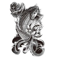 Hot Black Fish Temporary Tattoo Stickers Waterproof  Body Art Big Size Fake Tatoo Paste On Arm Chest Shoulder For Men-HC2005