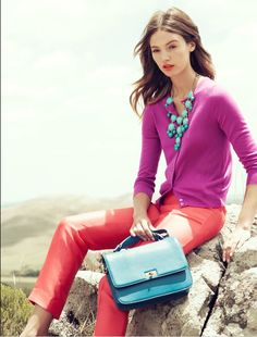 Fuchsia sweater, turquoise J. Crew bubble necklace, pink pants