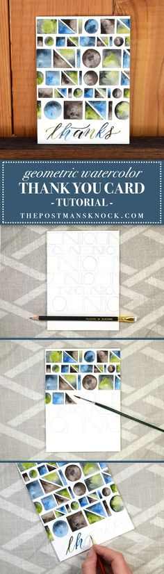 Geometric Thank You Card Tutorial   The Postman's Knock (Great for watercolor beginners!)