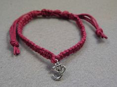 Burgundy Hemp Adjustable Om Bracelet by PeaceLoveNKnottyHemp, $6.50