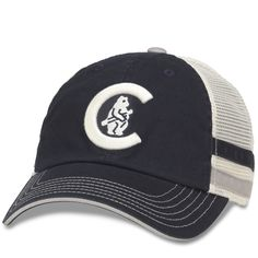 bf667931388 Chicago Cubs 1908 Cooperstown Foundry Striped Trucker Adjustable Cap by  American Needle