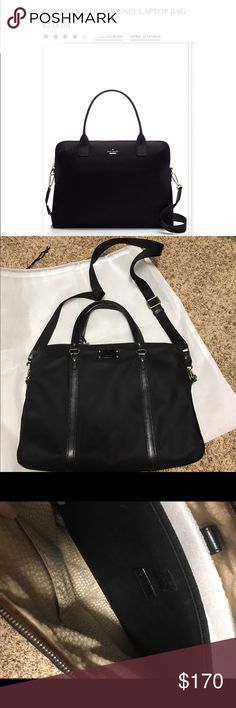 Kate spade laptop bag This bag is an older model of the daveney. The bag has been used but it's in great condition the flaws I would point out is one of the small pockets deep inside has lipstick stains. No other flaws noted. Bag is 16x12 kate spade Bags Laptop Bags