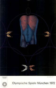 Olympische-Spiele-1972-Muenchen-Kunst-Motiv-Plakat-von-Paul-Wunderlich-ZUSTAND