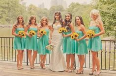 Love the contrast of the yellow flowers, Tiffany blue and light shoes... Perfection! http://www.bridesign.com/sunflowers-bouquets-online