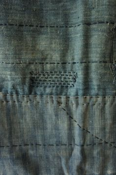 textile : tissu rapiécé bleu, wabi sabi