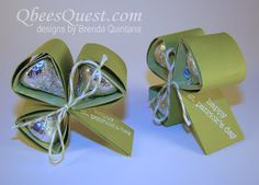 Qbee's Quest: Hershey's Shamrock Tutorial -These would make a cute party favor.