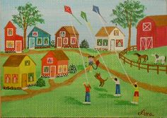Spring Fun 2, Kites, Dog, Horses, Houses, Trees, ACEO Art Card, packrat-2013@ebay SOLD