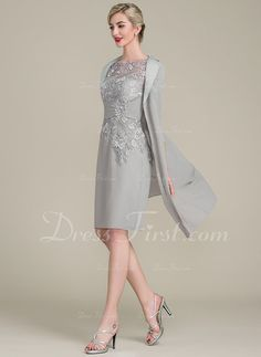 6c488082839 Sheath Column Scoop Neck Knee-Length Chiffon Lace Mother of the Bride Dress  With