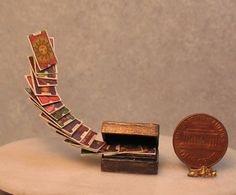 Doll House Miniature~Haunted Witch ESCAPING TAROT CARDS in Wooden Box IGMA OOAK