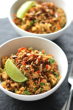 Thai Tofu Quinoa Bowls. I added Red Curry Paste and coconut milk instead of the sauce and I used brown rice instead of Quinoa. Whisked everything with a stalk of Sereh Healthy products cheaper with iHerb coupon OWI469 https://www.facebook.com/pages/Promo-coupons-codes/191003537749276 #weightloss #health #cookbook