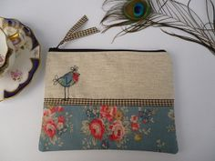 Handmade Cosmetic Makeup Bag Purse, Cath Kidston blue bunch fabric, Hen applique, embroidery