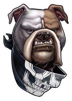 """Dog Ink"" Temporary Tattoo, American Bulldog w/ Skull Bandanna, Made in USA Graffiti Drawing, Graffiti Art, Bulldogge Tattoo, Bulldog Drawing, Aztecas Art, Arte Cholo, Arte Dope, Cartoon Wolf, Bulldog Mascot"