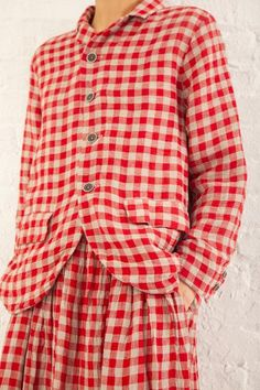Ichi Antiquites Linen Gingham Jacket in Red Red Gingham, Mode Vintage, Layering Outfits, Mode Inspiration, Fashion Outfits, Womens Fashion, Tartan, Style Me, Jackets For Women