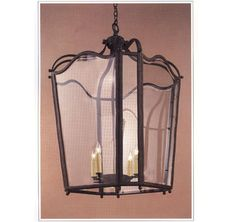 """10006  FOUR LIGHT IRON CHANDELIER FINISH SHOWN: PUEBLO SHOWN WITH BEVELED GLASS, AVAILABLE WITH CLEAR, FRENCH ANTIQUE OR ANTIQUE SEEDY GLASS MAXIMUM WATTAGE: 240 EDISON BASE SOCKETS HT 41"""" W 25"""" APPROX. WT. 90 LBS. REQUIRES REINFORCED J-BOX"""