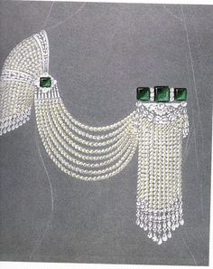 Chaumet Drawing of Pearl Sleeve with Emerald Adorned Draping Tassle