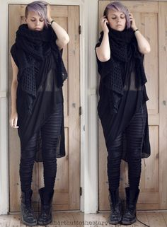 shortcuttothestars: Listening to Lykke Li and praying for cooler weather from MarshallTop from Barbara i GonginiLeggings from ClosetChildBoots from Doc Martens Queer Fashion, Dark Fashion, Gothic Fashion, 90s Fashion, Casual Goth, Frock And Frill, Dark Mori, Cardigan Outfits, Thrift Fashion