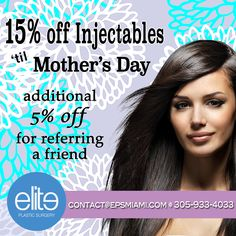 Looking for the perfect #MothersDay gift? Then, take advantage of our #injectables promo! 15% off all our #dermalfillers until Mother's Day AND receive an additional 5% off for referring a friend. To schedule a consult: contact@epsmiami.com, 305-933-4033. #botox #sculptra #radiesse #restylane #juvederm #kybella #lookyounger #lookgoodfeelgood #smoothskin #wrinklefree #bodygoals #facialrejuvenation #facialenahncement #beautifulface