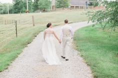 """""""A bride and groom Walk on  gravel path at  during a traditional farm wedding in greensboro, NC"""",  Greensboro-College- Wedding-Photos-Greensboro-NC (52 of 89)"""
