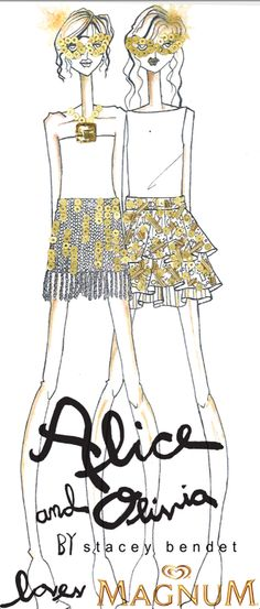 Check out the sketch of two mini skirts designed by Stacey Bendet of @alice_olvia inspired by @Magnumicecream bars. The mini skirts will be available for purchase in all @alice_olivia stores as well as online at aliceandolivia.com!   Plus, here is the really exciting news! The mini skirts will be avail