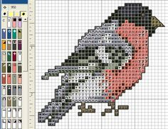 A Bullfinch. Cross stitch chart. #cross_stitch Tiny Cross Stitch, Cross Stitch Needles, Cross Stitch Animals, Cross Stitch Charts, Modern Cross Stitch Patterns, Cross Stitch Designs, Bird Embroidery, Cross Stitch Embroidery, Quilt Stitching